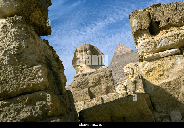 Egypt, Cairo, Pyramids at Giza (Gizeh) Sphinx - Stock Image