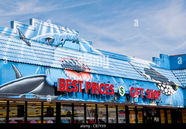 Best Prices Gift Shop with shark advertisement on International Drive Orlando FL - Stock Image