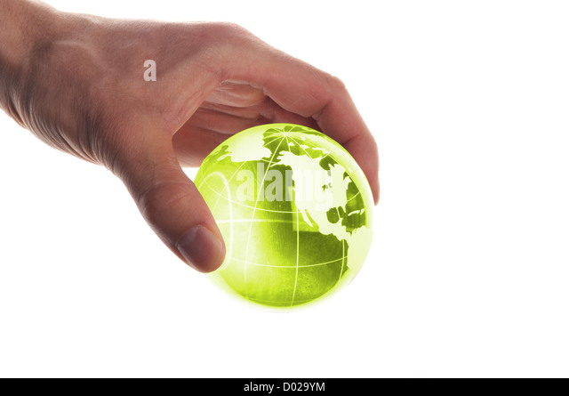 hand holding globe to protect the fragile environment - Stock Image
