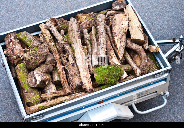Small trailer loaded with rough logs for fire-wood - sud-Touraine, France. - Stock Image