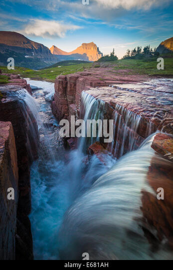 Logan Pass in Glacier National Park, Montana, located near the US-Canada border - Stock Image