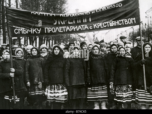 SOVIET RUSSIA  Russian women in  1930s demonstration supporting the removal of class distinctions between workers - Stock-Bilder