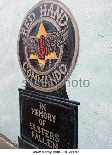 Shankill Road Mural -Red Hand Commando,In Memory Of Ulsters Fallen, West Belfast, Northern Ireland, UK - Stock Image