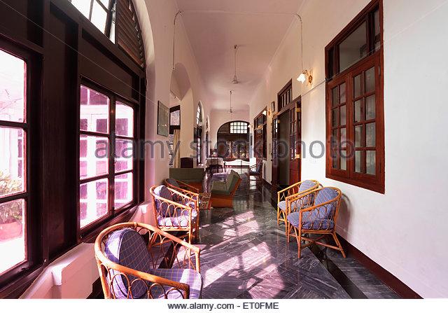 Corridor in heritage bungalow of general manager western railway ; Bombarci ; Bombay Mumbai ; Maharashtra ; India - Stock Image