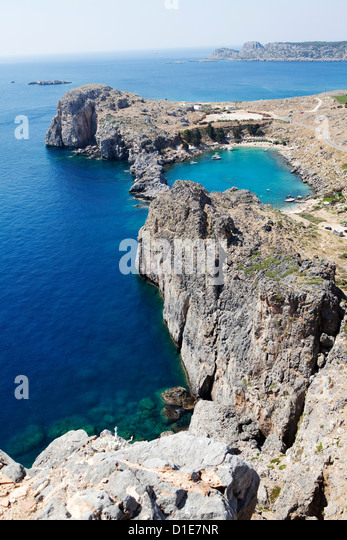 View of the St. Paul Bay from the Acropolis of Lindos, Rhodes, Dodecanese, Greek Islands, Greece, Europe - Stock Image