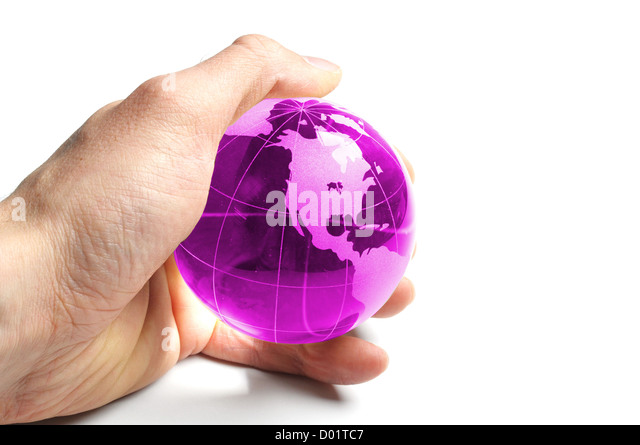 environmental protection or eco concept with world in a hand on white - Stock Image
