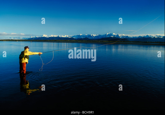 Man fly fishing on the Tsui River, Southeast Alaska, Summer - Stock Image