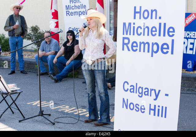 Honourable Michelle Rempel Canadian MP for Calgary Centre-North addresses constituents at her annual Stampede breakfast. - Stock Image