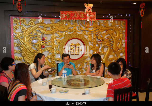 Thailand Bangkok Samphanthawong Chinatown Yaowarat Road restaurant Chinese interior inside - Stock Image