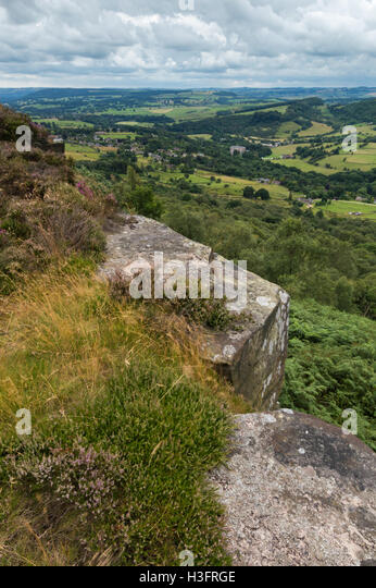 View from the top at Froggatt Edge - Stock Image