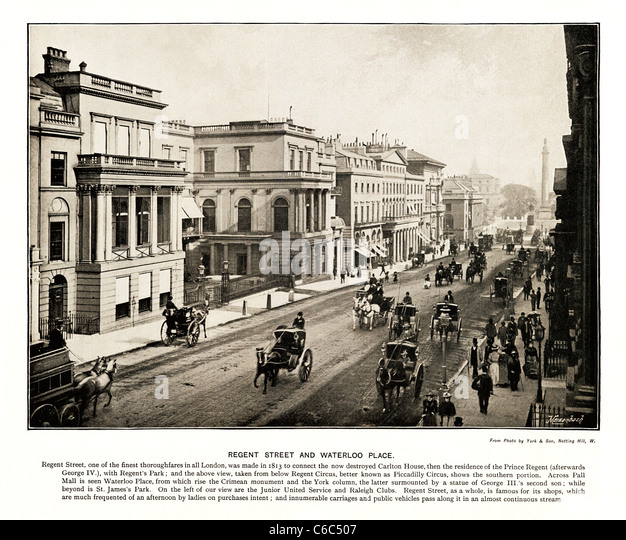 Regent Street and Waterloo Place, London, 1897 Victorian photograph of the view from Piccadilly Circus down to the - Stock Image