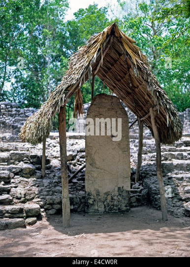 Ancient religious Mayan house with thatched roof, Cuba - Stock Image