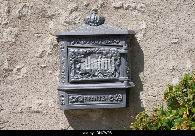 Postbox in the Auvergne, France. - Stock Image