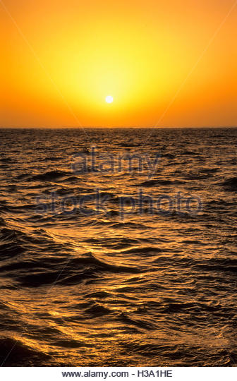 gold sunset over the ocean - Stock Image