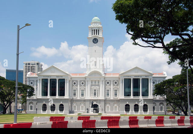 Victoria Theatre and Concert Hall, Empress Place, Civic District, Singapore - Stock Image