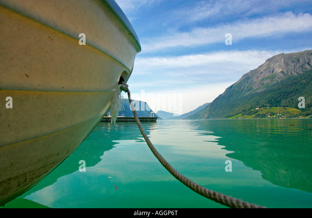 A rowing boat on the Sognefjord, Skjolden, Norway. - Stock Image