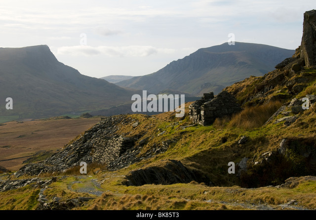 Y Garn and Mynydd Mawr from old mine buildings, Snowdonia, North Wales, UK - Stock Image
