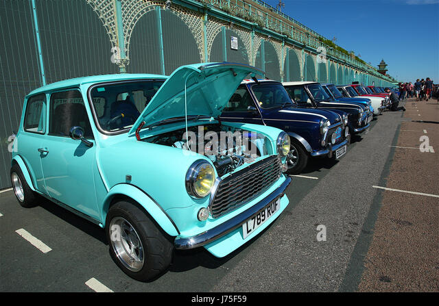 Mini car London to Brighton event where thousands of mini cars travel form Crystal Palace to Maderia Drive on Brighton - Stock Image