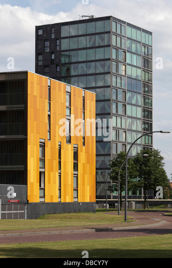 Chasse Park Housing, Breda, Netherlands. Architect: OMA, 2001. Apartment blocks in parkland, designed by various - Stock Image