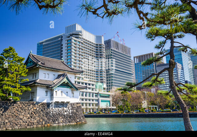 Tokyo, Japan at the Imperial Palace moat tower. - Stock Image