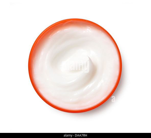 sweep of white beauty cream oil gel product cut out onto a white background - Stock Image