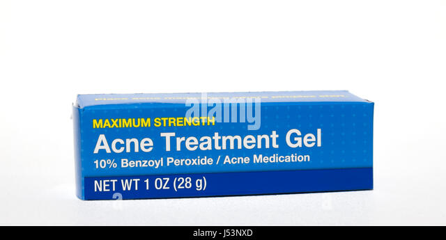 Acne Treatment Gel containing benzoyl peroxide. - Stock Image