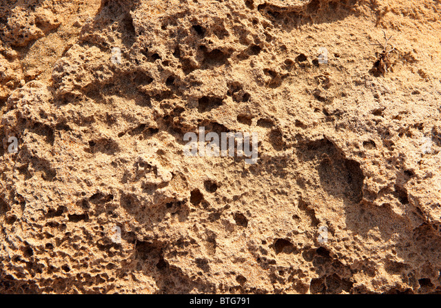 close up of erroded sandstone rocks, Ios Cyclades Island Greece - Stock Image