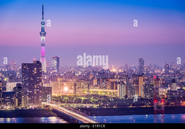 Tokyo, Japan cityscape with Tokyo Skytree. - Stock Image