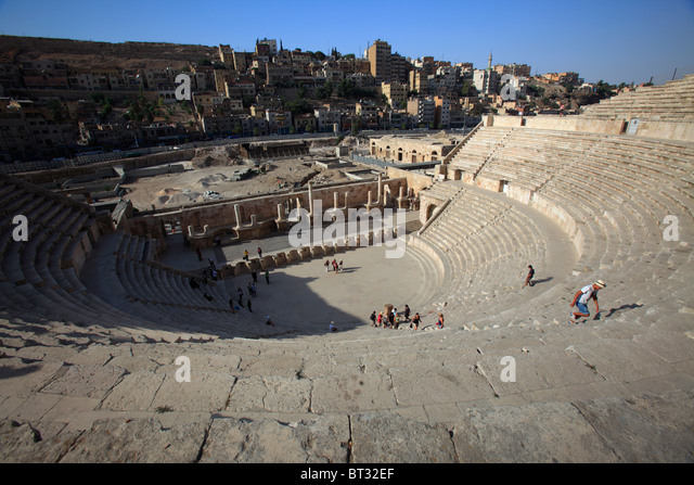 The Roman Theater in Amman, Jordan - Stock Image