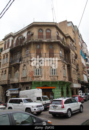 Traditional old buildings in Mar Mikhael, Beirut Governorate, Beirut, Lebanon - Stock-Bilder