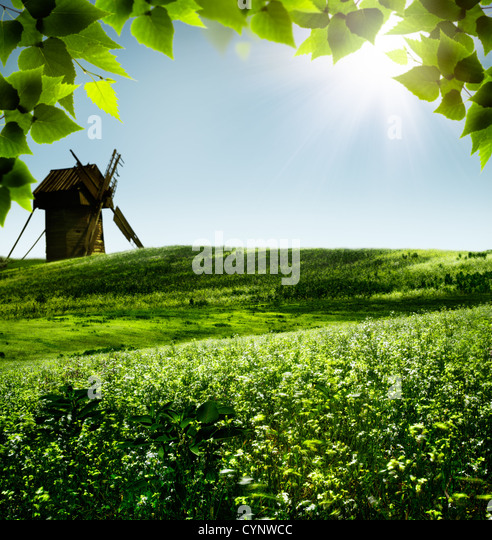 Windmill abstract stock photos windmill abstract stock for Rural landscape design