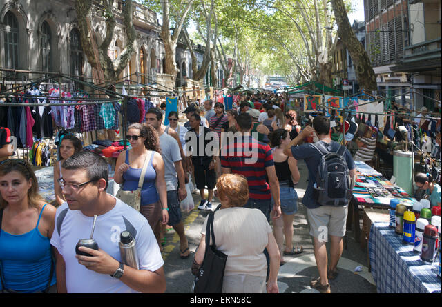 Tristan Narvaja Sunday street market Montevideo Uruguay - Stock Image