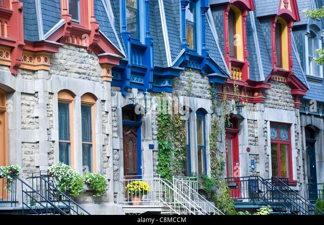 Victorian row of Houses Carré Saint louis Plateau Mont Royal Montreal - Stock Image
