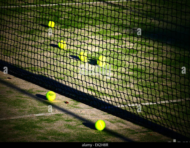 Tennis court n ball Hotel Jardin Tecina Playa Santiago Beach La Gomera island Canary Islands Spain - Stock Image