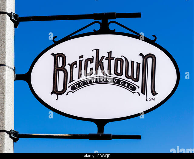 Sign in the historic Bricktown district of Oklahoma City, OK, USA - Stock Image
