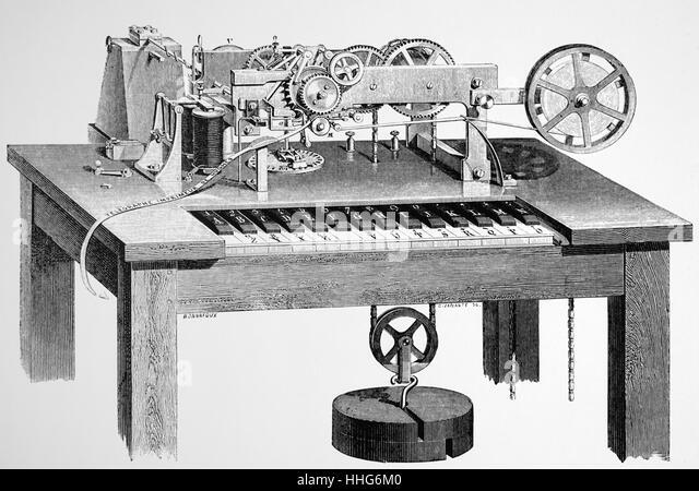 David Hughes's printing telegraph. - Stock Image