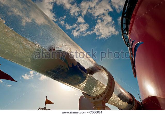 AquaDuck water coaster, Disney Dream cruise ship, Disney Cruise Line, sailing between Florida and the Bahamas - Stock Image