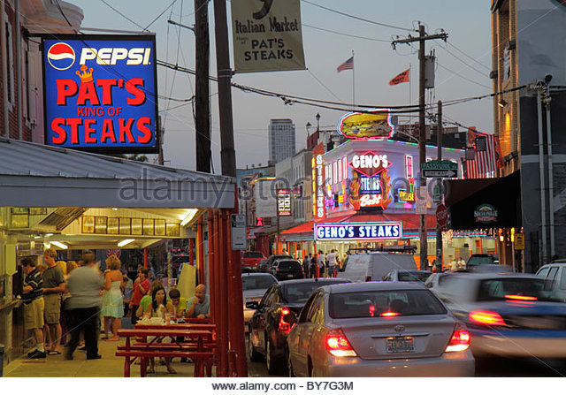 Philadelphia Pennsylvania South Philly South 9th Street Pat's King of Steaks restaurant sandwich shop business - Stock Image