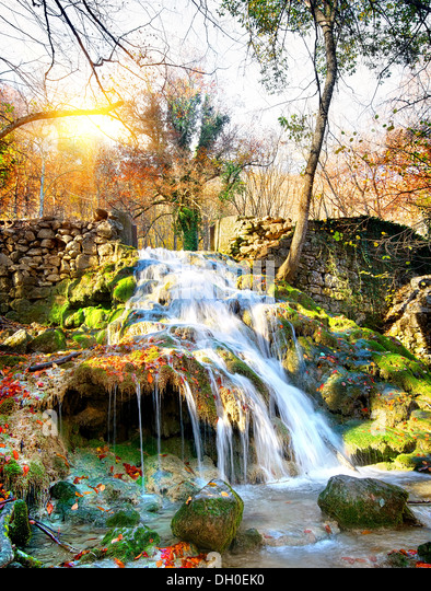 Autumn waterfall in the mountains of Crimea - Stock Image