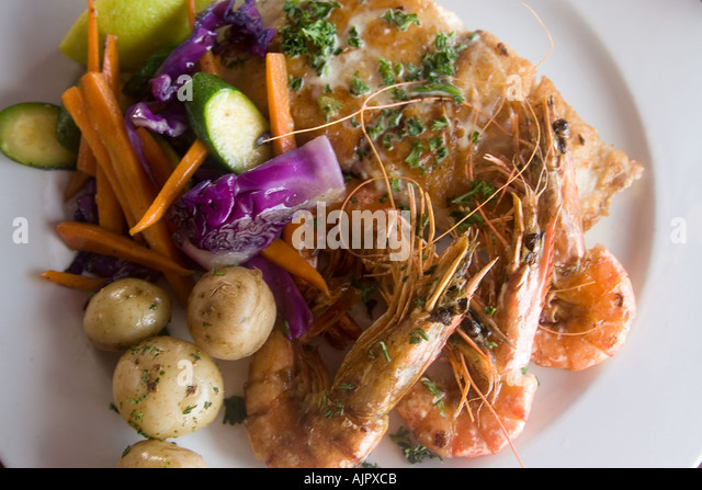 south africa western cape St James The boardwalk restaurant shrimps - Stock Image