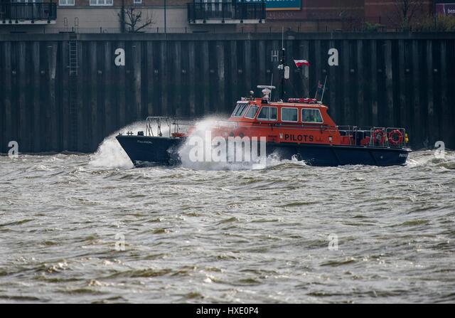 PLA Pilot Boat Cutter Patrol Pilotage Steaming Downriver River Thames - Stock Image