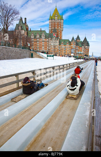 Tobogganing during Winter Carnaval in Old Quebec City, Canada - Stock Image