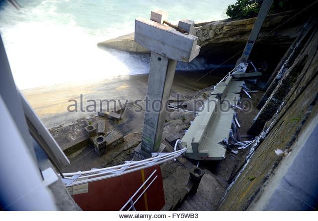 Rio de Janeiro,Brazil. April 21st, 2016. BRAZIL, Rio de Janeiro: View of a bike path after it collapsed, in Rio - Stock Image