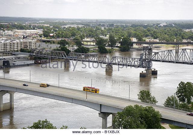 Arkansas Little Rock Arkansas River North Little Rock view Junction Bridge North Little Rock streetcar - Stock Image