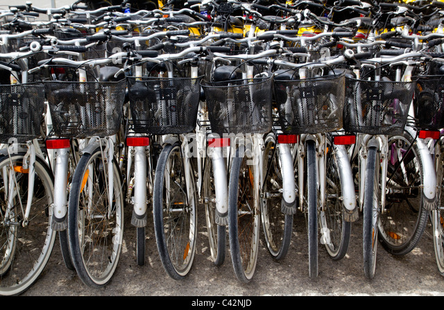 bicycles renting shop pattern rows parking in balearic islands - Stock Image