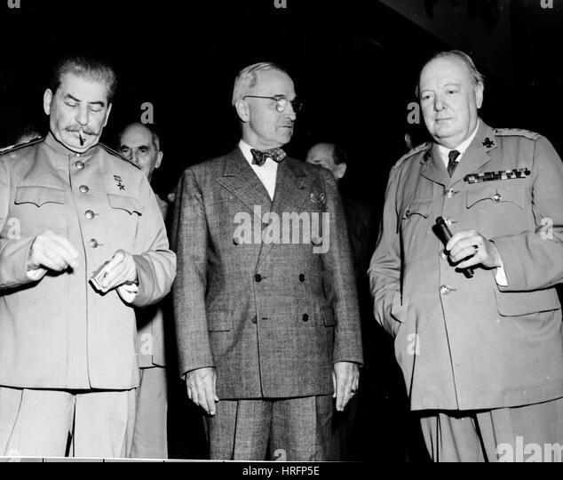 POTSDAM CONFERENCE 1945 From left: Joseph Stalin, Harry Truman, Winston Churchill - Stock Image