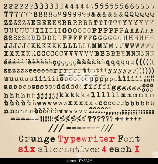 Grunge typewriter font. Six alternatives for each glyph - Stock Image