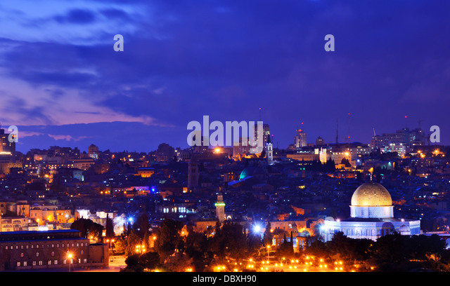 Skyline of the Old City and Temple Mount in Jerusalem, Israel. - Stock Image
