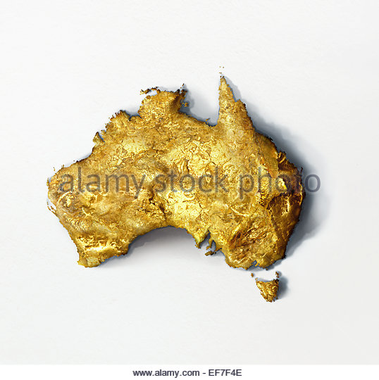 Gold nugget in shape of Australia - Stock Image