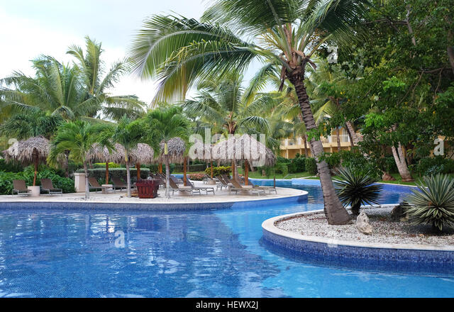 Pool at Dreams Resort and Spa, Punta Cana in the Domiinican Republic. The resort is one of several properties in - Stock Image